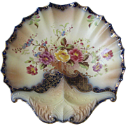 Antique Flow Blue Carltonware Rose and Curlicue Shell Dish