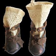 Antique original brown shoes laether  jumeau