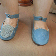 Antique shoes blue laether