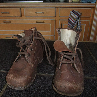 Antique shoes laether brown enfant