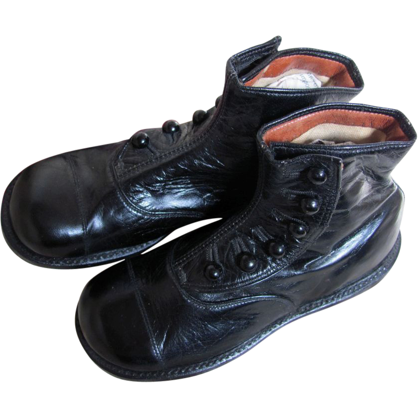 Thank you 'J'_PRISTINE  Antique Hi Top Button Black Leather Shoes 7 inches long_GREAT FOR BIG BEARS or DOLLS