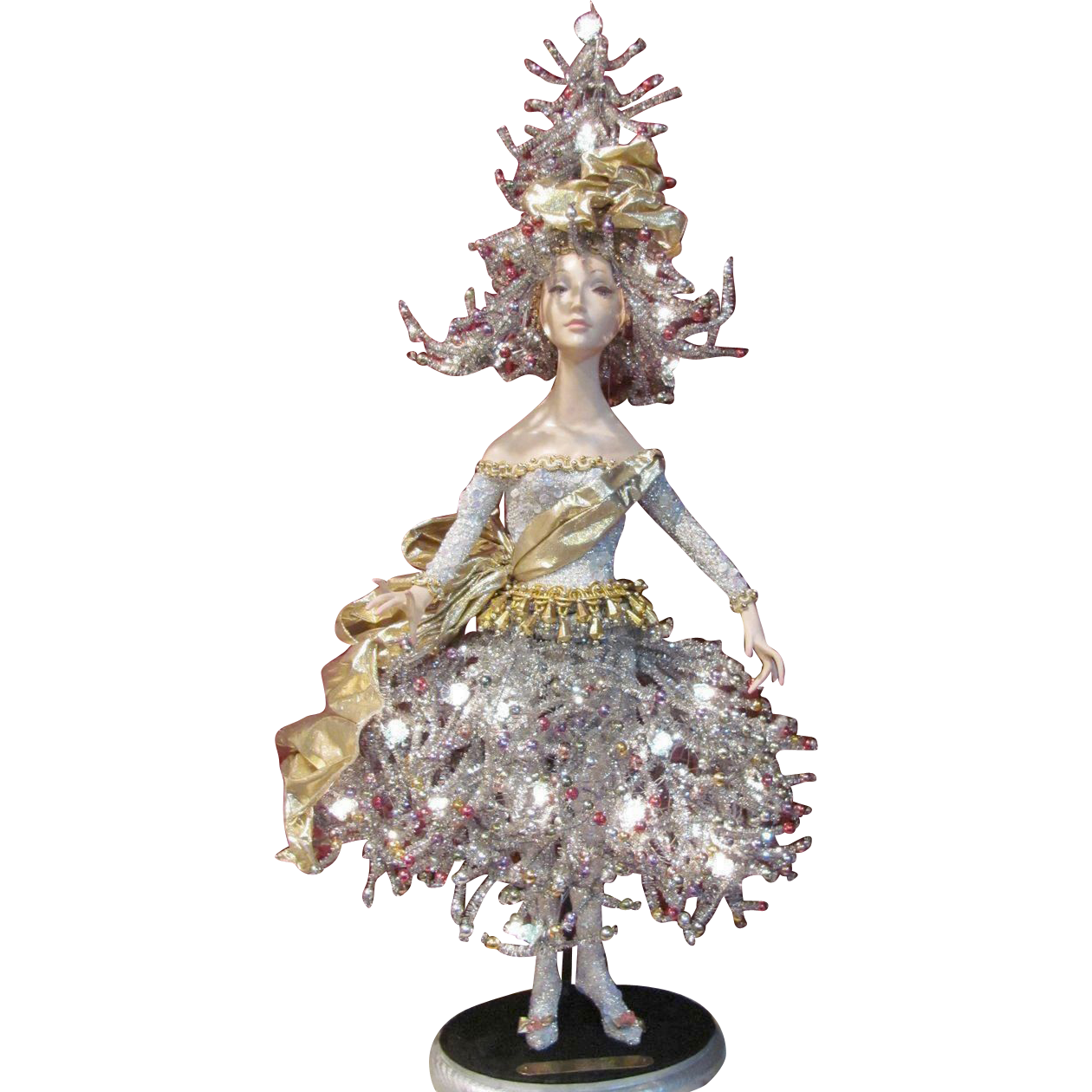 "'Jolie Noel' Christmas Tree Doll Light #1 by artist Bill O'Connor_Unique 28"" tall_Original Art Doll Light_FREE SHIPPING in USA"