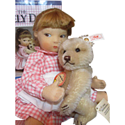 "Adorable FELT 14"" Edith THE LONELY DOLL and Steiff Little Bear and Book_"