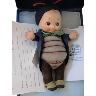 """Peeper"" Kewpie Bug _ R. John Wright_Felt fully jointed doll_Date of Release 2001_ Ltd. Ed. 076/250."
