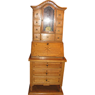 Salesman's Sample Secretary Bookcase Great for Antique Doll Accessory_Munich, Germany, 19th century_Drop Front Desk_