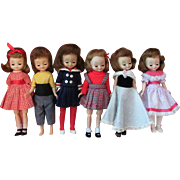 Thank you 'J'_Six Vintage Betsy McCall 8in hard plastic dolls made by the American Character doll Co in the 1950's.