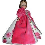 "Cissette Madame Alexander 9"" Pink Silk Camellia Asters Ball Gown_Hard Plastic Doll_Complete Beauty_FREE shipping in USA"
