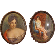 Thank you 'C'_Hand Painted Miniatures_Portraits of a young lady_19th Century_Convex Glass_French_FREE Shipping in USA