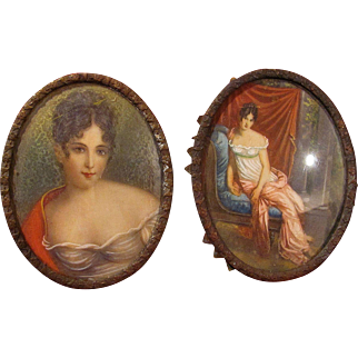 Hand Painted Miniatures_Portraits of a young lady_19th Century_Convex Glass_French_FREE Shipping in USA
