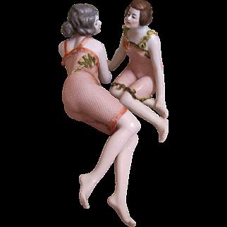 Porcelain Bathing Beauties_pair of Pink Tinted Porcelain depicting adult nude ladies_Figurines~
