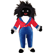 """Thank you 'M'_Golliwog Velveteen Cloth Doll_Made in England_Merry Thought_with Tags_19""""_Musical Black TOY Doll_"""