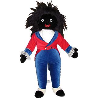 """Golliwog Velveteen Cloth Doll_Made in England_Merry Thought_with Tags_19""""_Musical Black TOY Doll_FREE Shipping in USA."""