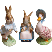 3 Royal Albert Beatrice Potter figurines, Bunnies and  Puddleduck_Vintage_Mint Condition...Nice Easter items