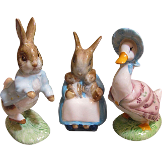 3 Royal Albert Beatrice Potter figurines, Bunnies and  Puddleduck_Vintage_Mint Condition...