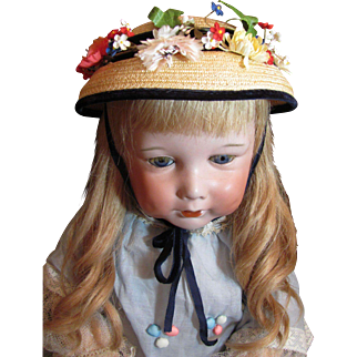 Cinderella brand Vintage Hat flowers, velvet ribbon, straw bonnet_red Cinderella label_New York for doll or child.