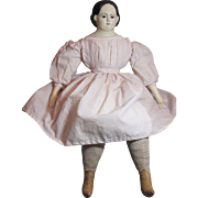 """Large 28"""" Pre-Griener Papier Mache_Glass Eyes_Exposed Ears_Endearing Historical American Doll_face repaint"""