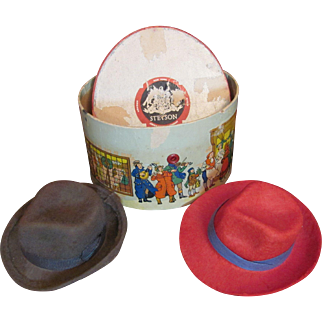 3 Salesman's Sample 'STETSON HATS' and hatbox. Vintage Miniature _nice for small antique boy dolls...