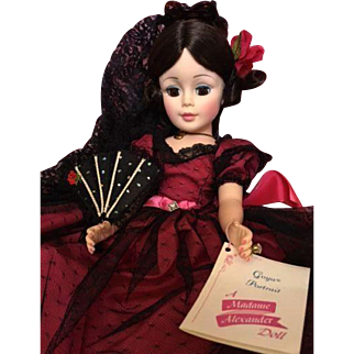"GOYA 21"" Portrait Doll_Jacqueline face_Madame Alexander_Spanish lady in native costume_MIB"