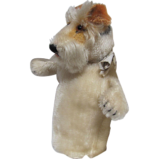 Vintage STEIFF_ 'Foxy Fox Terrier' Mohair hand puppet_Cute toy for a doll to cuddly.