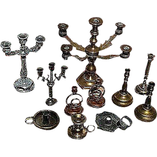 11 miniature Dollhouse candlesticks variety_ Candelabras, singles and pairs....