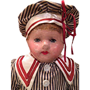 Martha Chase Molded Stockinette Cloth Hospital Doll dressed as a boy_16 inches tall_'early style' having the squared off neck
