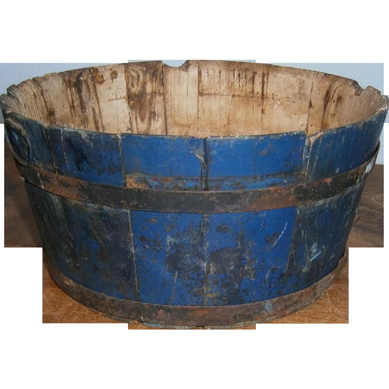 AAFA Primitive Wood Small Wash Bucket or Milk Pail in Old Blue Paint Apple Box