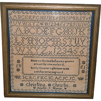 "Primitive AAFA Sampler with Blue Stitching Dated 1851 ""Christina"" with Heart"