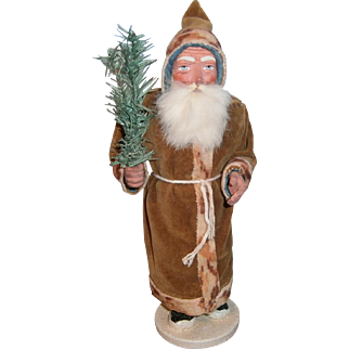 German Santa Claus Candy Container in Brown Suit and Holding a Feather Tree