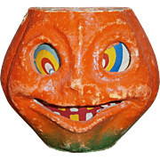 Halloween Pulp JOL Pumpkin Lantern with Paper Face Insert 1940's