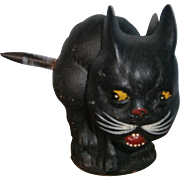 US Zone German Halloween Nodding Black Cat Candy Container with Spring Tail