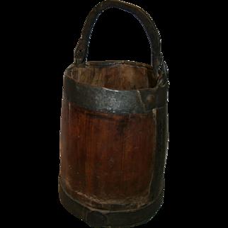 AAFA Primitive Treen Wood Bucket Pail with Hand Forged Iron Bail 1700's