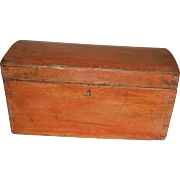 AAFA Primitive Wood Dovetail Dome Top Document Box Trunk in Bittersweet Paint