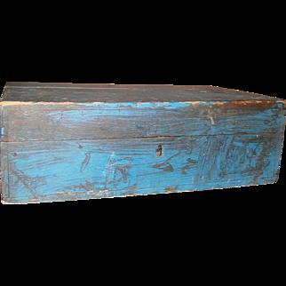 AAFA Primitive Hinged Wood Document Box in Blue Paint