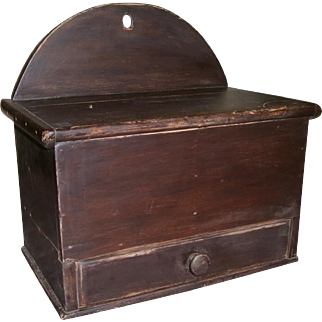 AAFA Primitive Wood Hanging Spice Box in Brown Paint with Tombstone Back and Drawer