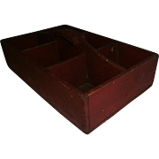 AAFA Primitive Wood Tote Carrier in Red Alligatored Paint