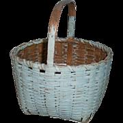 AAFA Primitive Wood Splint Basket in Robin Egg Blue Paint