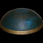 AAFA Primitive Wood Bowl in Blue Paint with Gold Paint Trim