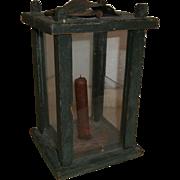 AAFA Wood Barn Lantern in Green Paint and Glass Panels