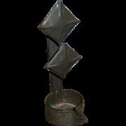 AAFA Primitive Tin Betty Lamp with Double Square or Diamond Top