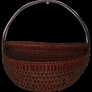 AAFA Primitive Hanging Half Wood Splint Basket in Red Paint