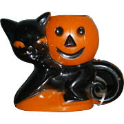 Rosbro Plastic Halloween Cat with Pumpkin Candy Container Sucker Holder 1950's