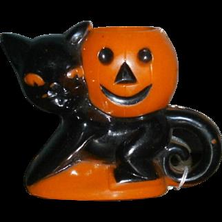 Rosbro Plastic Halloween Cat with Pumpkin Candy Container Sucker Holder 1950's