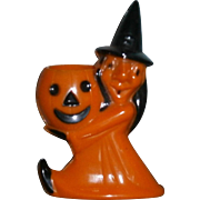 Rosbro Plastic Witch and Pumpkin JOL Candy Container Lollipop Holder 1950's