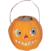 Small Pressed Cardboard German JOL Pumpkin Candle Lantern with Paper Face Insert