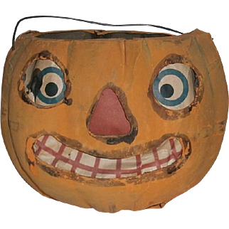German Halloween Cardboard JOL Pumpkin Lantern with Paper Face Insert - Rounded Bottom