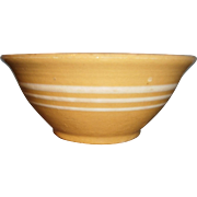 "Yellow Ware White Stripe Kitchen Mixing Bowl 7.5"" Diameter"