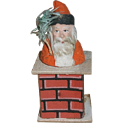 German Christmas Santa Claus in Chimney Candy Container
