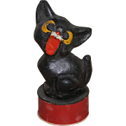 Vintage Halloween German Composition Black Cat Candy Container Dated 1912
