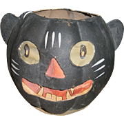 German Halloween Black Cat JOL Lantern with Paper Face Insert 1930's