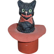 Vintage Halloween German Composition Black Cat in Red Hat Candy Container